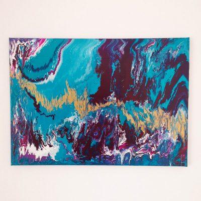 Tablou abstract pictat pentru decor
